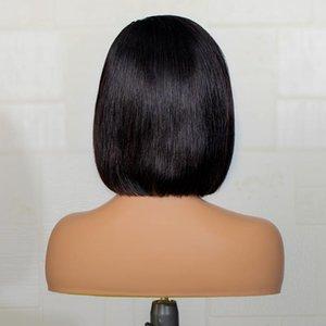 Синтетические парики Средняя часть Черный короткий вырезанный Bob прямой кружевной фронт для женщин с детским водоснабжением. На 180% плотность
