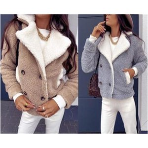 Ladies Lamb Wool Coat Fashion Occident Trend Button Thicken Fur Collar Jackets Designer Female Winter New Casual All-match Slim Outerwear