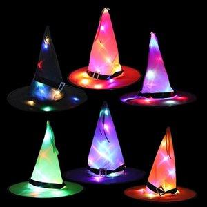 Halloween Hats Halloweens Украшения реквизиты Светодиодные Строки Светящиеся Ведьма Шляпа Сцена Планировка Вечеринка Поставляет Волшебник Волшебницы Маг