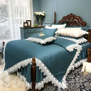 Solid Color Egyptian Cotton Lace Edge Duvet Cover Silky Soft Bedding Set Ruffled Bed Skirt Queen King Size 4Pcs Sets