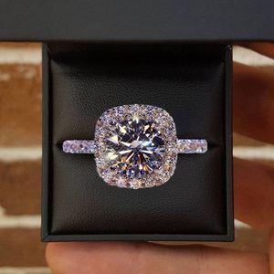 Moissanite & Diamonds Ring In 14k White Gold 1ct Round Cut Diamond Bridal Promise Jewelry Simple Design Square Wedding Anniversary Gift
