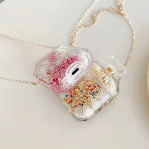 Bling Quicksand Perfume Bottle design Transparent Soft TPU Earphone Case For AirPods 1 2 3 Pro Protective Box With Chain Line Retail Package