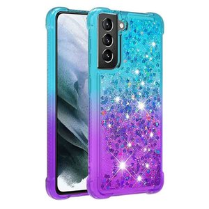"""Glitter Rugged Liquid Phone Cases for Samsung Galaxy S21 6.2 Soft TPU Shockproof Protective Girls Women S21Plus 6.7"""" Cover"""