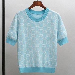 320 2021 Frühling Sommer Marke Gleiche Stil Pullover Pullover Regular Kurzarm Rundhalsausschnitt Blau Rosa Hohe Qualität Frauen Kleidung Pingguo