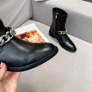 Ankle-length rivet boots side zipper shoes black easily match any color and dress with leather high quality material designer brands