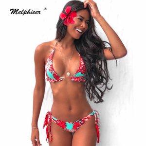 Chicas Ties Halter Brasileño Push Up Bikini Borlas Biquini Traje de baño Bendillo de tiras de traje de baño Ropa de baño Desgaste de la playa Traje de baño Mujer SXL