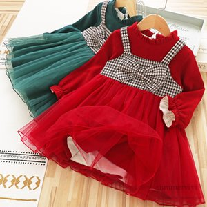 Girls fake two piece christmas party dresses kids plaid Bows suspender splicing lace tulle dress winter children velvet thicken warm princess clothing Q2734