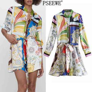 Pseewe Spring 2021 ZA Print Mini Shirt Vestido Mujer Vintage Cinturón de manga larga Mujer Botón Botón Aplique Vestidos Casuales 210324