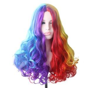 Woodfestival волнистые радуги синтетический парик длинные волосы цветные косплей парики для женщин женский зеленый розовый красный синий фиолетовый коричневый белокурый
