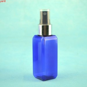 50ml x 300 square plastic travel blue bottle with sprayer, refillable empty for cosmetics packaginggood qualty