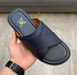 2021 Кожаные тапочки мужские Классические печатные тапочки Высококачественные роскошные мужские туфли мода дизайнер шлепанцы полосатый пляж натуральная кожа калькера - 3695