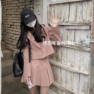 Red Blazer Куртка Net Женская 2021 Ранняя Весна Корейский Свободный Короткий Костюм Топ плиссированная юбка