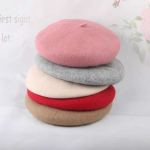 Girls Fashion Hat Kids Winter Woolen Buds Cap Cany Color 210528