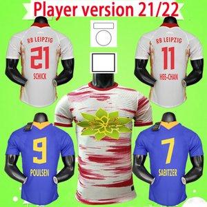 RB Leipzig Oyuncu Sürümü 21 22 Futbol Formaları Sabitzer Sørloth Hee-Chan Maillot Upamecano Forsberg Poulsen Olmo 2021 2022 Futbol Gömlek Kitleri Setleri Angelino Eve Uzakta Üçüncü