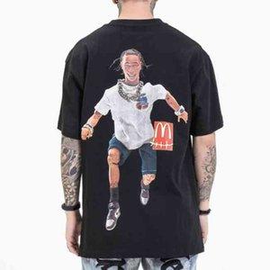 Мужская одежда Новая мода бренд хип-хоп фигуры мальчиков свободно печать мужская футболка с коротким рукавом весной и летом 2021 года
