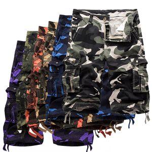 21s verão homens soltos casuais casuais de cinco pontos calças camuflagem shorts tamanho grande tamanho multi-bolso