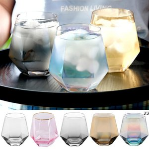 300ml Glass Wine Glasses Milk Cup Colored Crystal Glass Geometry Hexagonal Cup Phnom Penh Whiskey Cup HWF10504