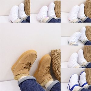 Wheat Warm Kids Mid Aforce 1 One USA Winter Sneakers Little Kids Sport Shoes Boy High Pure White Red With Fur Lucky Green Sneakers