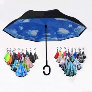 Sıcak Ters Ters Şemsiye C Kolu Rüzgar Geçirmez Ters Yağmur Koruma Şemsiye Kolu Şemsiye Ev Sundries Deniz Nakliye DAP362
