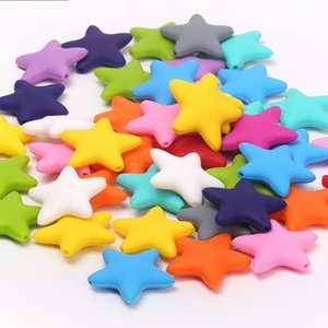 Chenkai 50pcs Silicone Star Chewing Teether Beads DIY Mom wearing Baby Shower Pacifier Sensory Jewelry Toy 210316 135 Z2