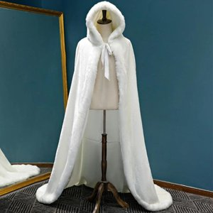 Wraps & Jackets Winter Long Faux Fur Cape Wedding Capes Warm Cloak Floor Length Bride Shawl Coat Adult Bridal Wrap