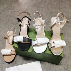 Sandali in pelle da donna Double Gold-Tonificato Hardware Tonica Black Tacchi alti Cinturino alla caviglia Mid Sandalo Abito da sposa di alta qualità con scatola con scatola