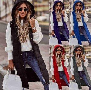 1 Pc  DHL Womens Quilted Vest Winter Warm Sleeveless Puffer Padded Long Coat Longline Hooded Gilet Jacket Outwear Ladies Bodywarmer G0224RW