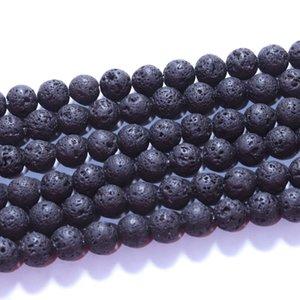 Moda 8mm Piedra natural de piedra negra Lava Volcánica Piedra suelta Beads Buddha Esencial Oil Difusor Charm Beads Joyas Making Accesorios 79 T2