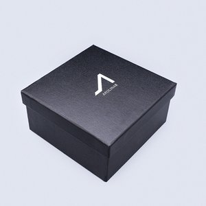 Customized Watch Paper Board Gift Packing Boxes Black Cardboard Box with Silver Foil on Lid