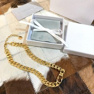 fashion CD letter necklace Cuban Chain Clavicle Necklace Hiphop Non-Fading Jewelry Factory wholesale brass plated bracelet women