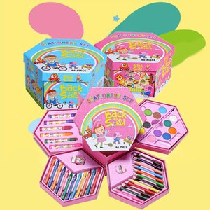 46 Pcs Painting Drawing Artist Set Kit Water Color Pen Crayon Oil Pastel Painting Tool Art Supplies Kids Stationery Gift Set