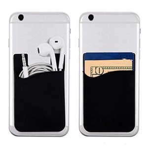 Phone Card Holder Silicone Phone Wallet Case Credit Card ID Card Holder Pocket with 3M Adhesive, with OPP bag