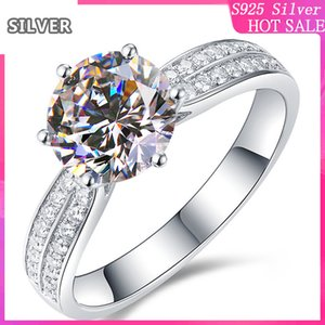 s925 sterling silver exaggerated starlight queen six claw female proposal marriage 2 rows diamond wedding anniversary gift