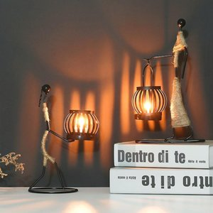 Candle Holders Creative Holder Iron Figure Candlestick Home Decoration Ornament Light Accessories Desktop Decorations