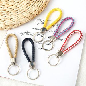 Chain Key PU leather rope hand woven car female zero wallet pendant metal ring accessories