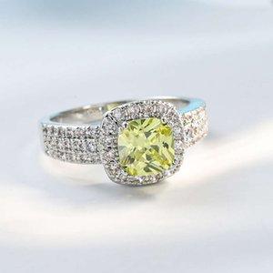 Bagues Bijoux Vendre Puits Zircon incrusté avec Accessoires de diamant jaune pour femmes