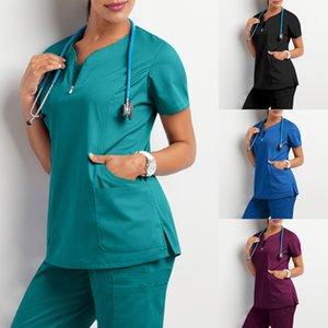Abbigliamento da lavoro Abbigliamento donna Soggiorni Soggetti Uniforme Femme Beauty Salon Vestiti Nursing Scrub Tops Camicia infermiera infermiera uniforme da lavoro uniforme Hemsire