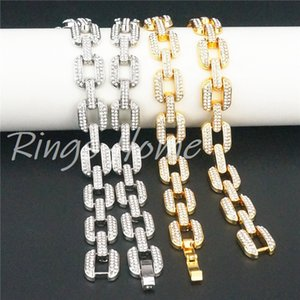 Men Hip Hop Bling Iced Out Tennis Chain 1 Row Necklaces Bracelet Sumptuous Clastic Silver Gold Color Chains Fashion Jewelry R212446