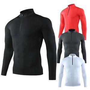 Homens apertado esporte t-shirt de manga longa ginásio running roupas fitness compressão sportswear zip pulôver caminhadas rashgard moletom