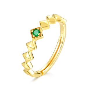 Gold Plated Engagement Wedding Natural Emerald Ring In 925 Sterling Silver Jewelry For Women Party Gift