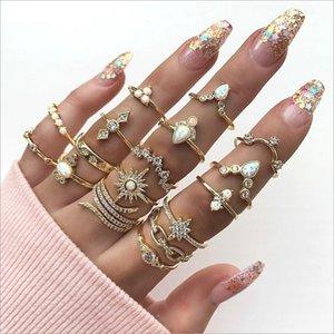 Anillo de estilo bohemio Conjunto de 17 piezas Conjunto de diamante Joyas de anillos