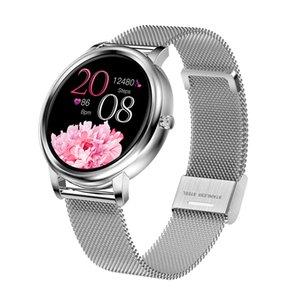 MK20 Akıllı İzle Tam Dokunmatik Kontrol Yuvarlak Ekran Moda Kadınlar Smartwatch Lady Sağlık IOS Android için Sağlık Izleme Bandı