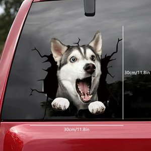 Wall Stickers 3d Dog Crack Sticker Pvc Plastic Car Window Decal Laptop Funny Decals Arrival Diy Home