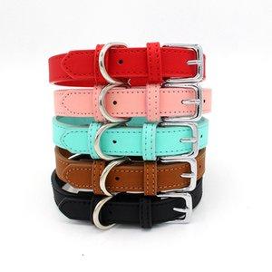 Comfortable skin feel PU leather pet collars small and medium dog cat collar pets supplies