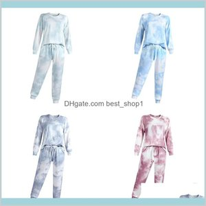 Fashion Tie-Dye Print Women Sleepwear Set Long Sleeve O-Neck Tops + Lace Up Elastic Waist Pants Pajamas Home Lounge Clothing M2787 D6Np0