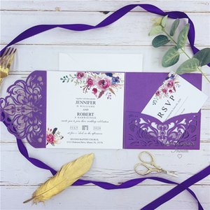 Classic Fall Magenta Shades Of Purple Floral Pocket Laser Cut Wedding Invitations With Envelope 148*148mm