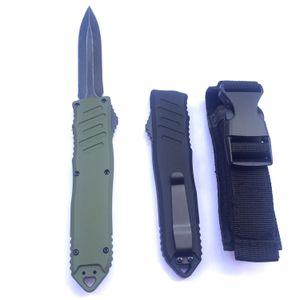 wholesale OEM Zinc-aluminum alloy handle defense automatic knife lightweight shank sturdy spring black blade tactical folding knife