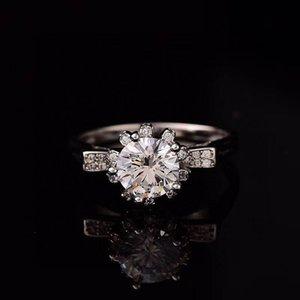 Cluster Rings S925 Silver Moissanite Ring 1.00ct D VVS Luxury Weding For Women