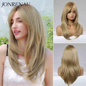 JONRENAU Heat Ristant Long Natural Wave Synthetic Medium Blonde Hair Wigs with Bangs for White Women no shine Fibre wig