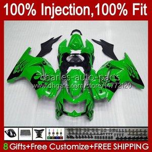 Injection pour Kawasaki Ninja ZX250R EX250 2008 2009 2011 2012 2012 13HC.8 Flammes noires EX250R ZX-250R ZX250 ZX 250R 08 09 10 11 12 Catériel